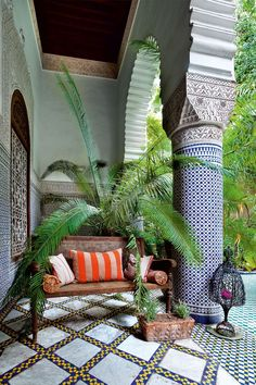 The loggia at Riad Enija provides a sheltered place from which to sit and enjoy the play of light and shade, the scent of owers and foliage, the gentle trickle of the fountain and the chatter of a multitude of birds. Interior Garden, Interior Exterior, Decor Interior Design, Exterior Design, Morrocan Interior, Morrocan Decor, Moroccan Bedroom, Moroccan Lanterns, Bohemian Interior