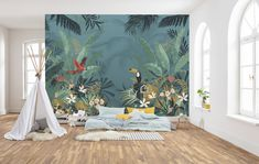 Jungle Bedroom, Baby Bedroom, Kids Bedroom, Baby Room Design, Wall Design, Hangout Room, Tropical Bedrooms, Townhouse Designs, Vintage Walls