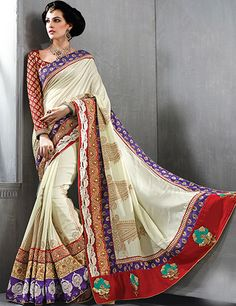 G3 fashions Beige silk designer saree Products code: G3-WSA2368 Price: ₹ 6790.00