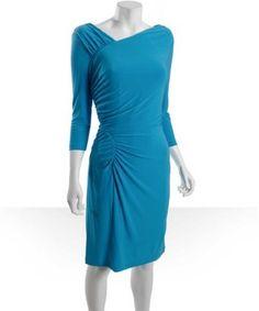 Tahari ASL turquoise matte jersey ruched long sleeve dress | BLUEFLY up to 70% off designer brands at bluefly.com