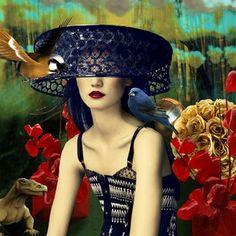 Komodo a la Mode. #digital #art #magic #hyperrealism #vogue #china #apr13 #david #slijper #lina #zhang #Japanese #lanterns #red #vases #finch #bluebird #Komodo #dragon #fluorescent #clouds #bamboo #forest #yellow #rose #ball #gold #orb #magical #Suzette✨