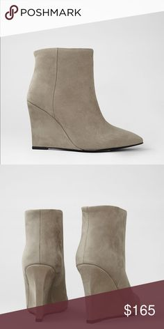 NWOB All Saints Gray Monet Manifesto Wedge Booties NWOB. A sharp pointed boot with a high wedge. Made from soft cement nubuck. Ankle high and with a long point. Width is true to size but our long point may feel quite roomy. Fabric: 100% suede leather. Color: gray. Never worn only tried on. More pictures soon. Size 37. Some light wear on the outer soles from when it was tried on. Protective sticker still on. All Saints Shoes Ankle Boots & Booties