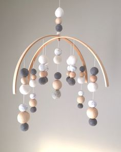 Marble Modern  Neutral Baby Mobile by SproutlingCo. . Felt Ball Mobiles