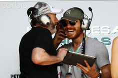 Liam Cunningham and Michael Fassbender at the Formula One World Championship Qualifying Day in Monte Carlo, Monaco