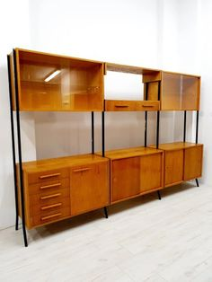 REGAŁ ŚĆIANA RETRO DESIGN BRUSEL TATRA 9471126747 - Allegro.pl Retro Design, Credenza, Divider, Mid Century, Cabinet, Storage, Room, Furniture, Home Decor