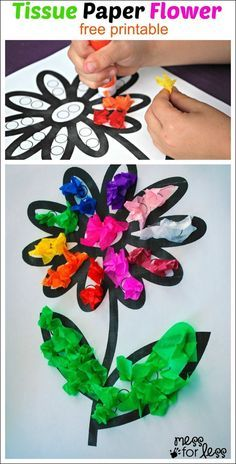 Tissue Paper Flower Art Activity.  Get the free template to print.  Perfect for our students with fine motor issues and other special challenges.  Read more at:  http://www.messforless.net/tissue-paper-flower-art-activity/