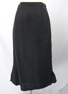 Eileen Fisher Black Pencil Skirt w/Side Slit Petite M PM 100% Silk Matte Long #EileenFisher #StraightPencil
