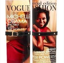 Michelle Obama Magazine Clutch Purse  Gorgeous 1st Lady wearing a Red casual dress.  This unique and elegant magazine clutch purse features a flattering photo of First Lady Michelle Obama. Chic and fabulous, the purse can be worn 4 ways (clutch, wrist let, long, short). Rock it with jeans and a white tee or your chic little black dress. Either way, you'll look fab.    The Michelle Obama Magazine Clutch Purse has a plastic purse body  Perfect for day or night!    front and back clear…