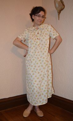 Wallpapering a Tent Nightgown, Tent, Short Sleeve Dresses, Comfy, Wallpaper, Cotton, Vintage, Fashion, Moda