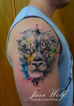 Lion. (adaptation of a Jay Freestyle design) Tattooed by javiwolfink
