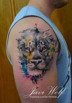 Lion. (adaptation of a Jay Freestyle design) Tattooed by javiwolfink