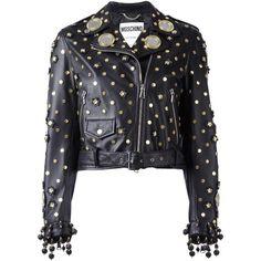 Moschino mirror embellished biker jacket ($2,940) ❤ liked on Polyvore featuring outerwear, jackets, black, motorcycle jacket, moschino, long sleeve jacket, rider jacket and studded biker jacket