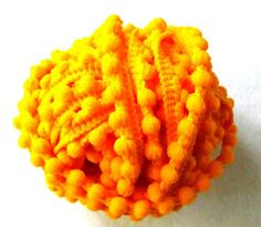 Sunny yellow pom pom lace available for retail, wholesale and commercial orders   desicrafts - Craft Supplies on ArtFire