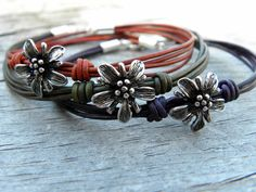 Sterling Silver Flower Purple Violet Leather by TANGRA2009 on Etsy