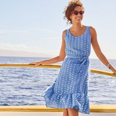 Think light and airy, like a refreshing sea breeze. | Talbots Summer Outfits Fit Flare Dress, Fit And Flare, Summer Outfits, Summer Dresses, Polka Dot Bikini, Summer Bikinis, Classic Style Women, Summer Collection, Talbots