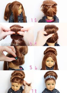 Retro Bouffant Bun American Girl Doll Hairstyle # american girl doll Hairstyles step by step Ag Doll Hairstyles, American Girl Hairstyles, Cute Hairstyles, Easy Hairstyle, School Hairstyles, Wedding Hairstyles, American Girl Outfits, American Girl Crafts, American Girls