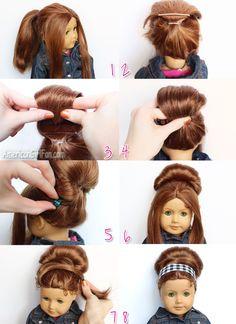 Retro Bouffant Bun American Girl Doll Hairstyle