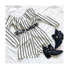 """CLICK HERE http://www.youtube.com/channel/UCqEqHuax3qm6eGA6K06_MmQ?sub_confirmation=1 This outfit you at a festival = BALLIN' Go get it from our bio link. (: """"striped bardot playsuit white"""" """"tooled metal detail silver buckle belt black"""" """"chain strap western ankle boot black"""") #missguided #festivals by missguided"""