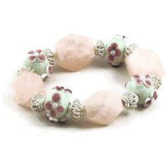Rose quartz and lampwork bead stretch bracelet by MiSuenos on Etsy, $20.00