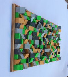 Sztuka Wooden Wall Art effect painted by artist Riccardo Ransarno Wooden Wall Art, Wooden Walls, Wood Art, French Cleat System, Acoustic Design, Wooden Blocks, Wall Sculptures, Durham, Green And Gold