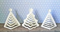 Make your own Paper Christmas Trees with a few cuts. Turn a Tree into a Paper Christmas Tree. Free template available here. Paper Christmas Decorations, Christmas Paper Crafts, Christmas Projects, Crochet Christmas, Christmas Ornament Template, Printable Christmas Cards, 3d Christmas Tree, Christmas Ornaments, Origami Christmas Tree Card