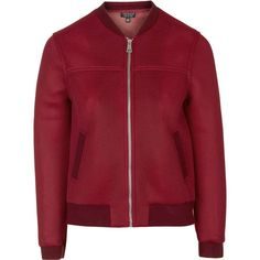 TopShop Airtex Bomber Jacket (1.574.185 VND) ❤ liked on Polyvore featuring outerwear, jackets, burgundy, red flight jacket, burgundy bomber jacket, burgundy jacket, pocket jacket and bomber jacket
