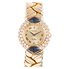 Rolex Lady's Yellow Gold, Diamond and Onyx Cellini Bracelet Watch circa 1980s | From a unique collection of vintage wrist watches at https://www.1stdibs.com/jewelry/watches/wrist-watches/