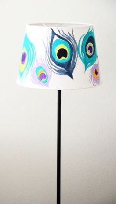 painted peacock lampshade + tutourial
