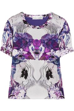 PRABAL GURUNG  Printed silk-georgette top