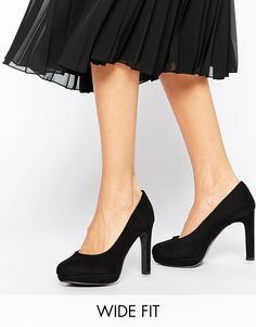 New Look Wide Fit Sieve Black Heeled Shoes