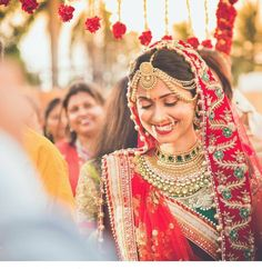 That shy smile, unable to contain her happiness. Moments before she stepped into the mandap 💖 Big Fat Indian Wedding, Red Wedding, Perfect Wedding, Wedding Cards, Wedding Dress, Hindus, Rajasthani Bride, Asian Bridal, Bridal Shoot