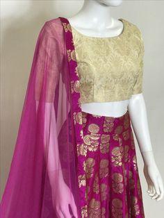 Pure Brocade Lehenga Choli. More Color Options Available. FREE SHIPPING IN USA!! Buy Online www.pinkphulkari.com Brocade Lehenga, Lehenga Skirt, Lehnga Dress, Lehenga Choli, Stylish Dresses, Indian Wear, Kurti, Fashion Ideas, Prom Dresses