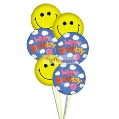 Send smiles & happy birthday wishes to a special one to bring smile on their face. 6 Mylar Balloons deliver for this arrangment.