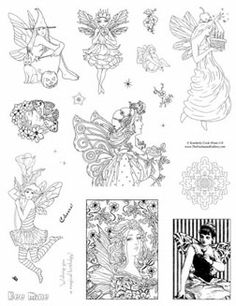 Fantasy Art Stamps - Unmounted Rubber Stamp Sheets Fairy, Mermaid, Art Nouveau, Domino, Card making, scrapbooking.