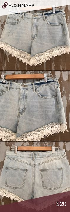Free People Lace Denim High Rise Booty Shorts Hi rise, crochet lace-trimmed distressed booty jean shorts by Free People. Light wash, 100% cotton. Size 29. Waist: 16.5 inches inseam: 2.5 inches rise: 11.25 inches (inventory G3) Free People Shorts Jean Shorts