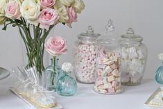 Dessert Table ideas - pastel sweets in old fashioned jars [wedding desert table]