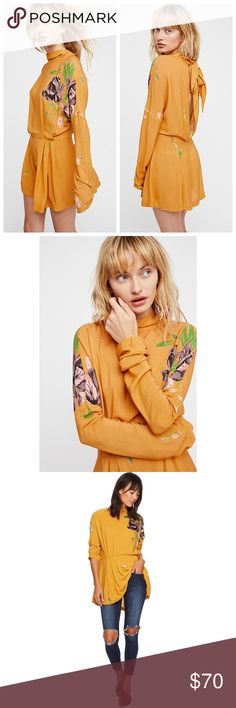 """nwt // free people gemma printed tunic top Size XS. Color Mustard Yellow. Opening at back. Super soft to the touch. 100% Rayon. 22"""" pit to pit and 27"""" length. Free People Tops Tunics"""