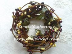 """2"""" Pip Berry Candle Ring BURGUNDY BLACK CREAM ~ Country, Primitive, Mini Wreath #Unbranded #countryprimitivecottage"""