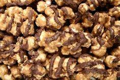 4 different popcorn recipes: chocolate mint, sweet chili, cheesy, cinnamon apple