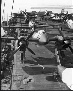 Captured Japanese warplanes that were transported to the U.S. for evaluation just after the war on board USS Barnes (CVE-20) during its transit to Norfolk via Alameda and the Panama Canal.