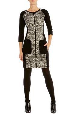 Texture print jersey dress