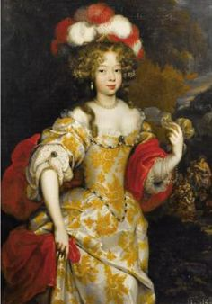 Hortense Mancini wearing a large feathered headdress (location unknown to gogm) Madame Guillotine 29May10 1