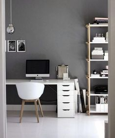 Grey Walls With White Desk Male Small Home Office Ideas