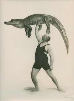 Captain Wall and crocodile. France, circa 1940 surreal vintage circus promo photo still
