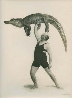 Captain Wall and crocodile. France, circa 1940