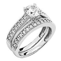 Round Cut with Side Stone 14K White Gold CZ Engagement Ring Set | GoldenMine.com