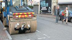banksy Street Art steamroller warden