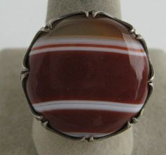 VINTAGE NOUVEAU DECO CARNELIAN BANDED SCOTTISH AGATE STERLING SILVER 925 RING #Hallmarked #Righthand