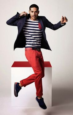 Men's Fashion | Spring Summer Trend | Sailor Crew Neck T-Shirt Blue Blazer and Red Chino