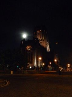 Full moon over liverpool Anglican cathedral